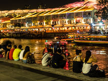 View of clarke quay street  and night life. Royalty Free Stock Photos
