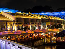 View of clarke quay street of restaurant. Stock Photos
