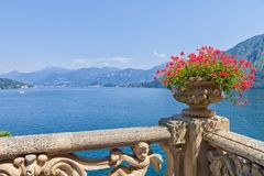 View of classic terrace in the park of Villa del Balbianello, Lake Como, Lenno, Lombardia, Italy. Romantic wedding place on Como Lake - famous Villa del Royalty Free Stock Images