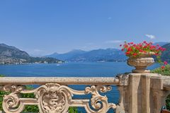 View of classic terrace in the park of Villa del Balbianello, Lake Como, Lenno, Lombardia, Italy. Romantic wedding place on Como Lake - famous Villa del stock photos
