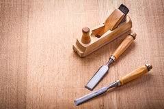 View 0classical woodworkers plane and two chissels Stock Images