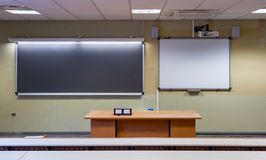 Whiteboard Interactive LIM. View of a classroom with blackboard and whiteboard Interactive LIM stock image