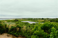View from Clay Head. High view from scenic ocean overlook at the bluffs of Clay Head on Block Island RI Stock Image