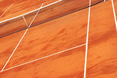 View of a clay tennis court Royalty Free Stock Photos