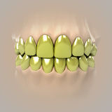 View on clean pure white golden or unhealthy teeth Stock Photo
