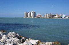 View of Clearwater beach. A side view of a few Clearwater buildings from the opposite side of the bay Royalty Free Stock Images