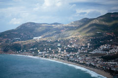 View of Cleopatra beach from castle. Amazing view of Cleopatra beach from castle in Alanya Stock Photography