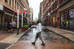 View of the Cleveland streets in the evening mist, after heavy rain Ohio, USA. View of the Cleveland streets in the late evening mist, Ohio, USA Stock Image