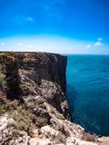 View on cliff cabo sao vincente at the atlantic ocean Portugal Europe royalty free stock photos