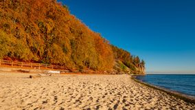 View of the cliff in Gdynia, Poland. Autumn, october royalty free stock image