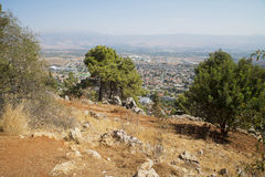 View from cliff on Kiryat Shmona. View from top of a Cliff on Kiryat Shmona city and Golan heights in the background. Israel Stock Photography