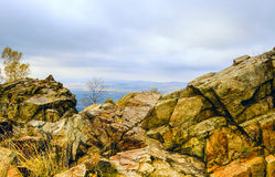View from a cliff. In the mountains Royalty Free Stock Photos