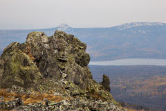 View of the cliff near the mountain lake Zyuratkul. Russia Stock Image