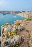 View from a cliff near Sagres Fortress in Portugal Royalty Free Stock Photo