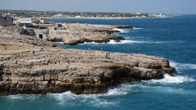 View of cliff and town of Polignano a Mare, Italy stock video