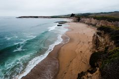 A view from a cliff of a sea stack near Santa Cruz