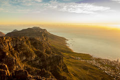 View of cliff and sea from Table Mountain Stock Photo