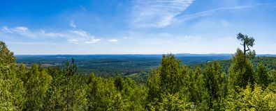 View from the cliff of seven brothers to the valley of the Sverdlovsk region royalty free stock images