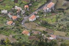 View from the cliff. The view from the cliff on the small town Arco de Sao Jorge. Madeira Island, Portugal Stock Photo