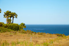 View from the cliff to the ocean. In Malibu California Royalty Free Stock Image