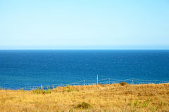 View from the cliff to the ocean. In Malibu California Stock Image