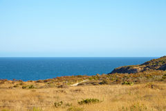 View from the cliff to the ocean. In Malibu California Royalty Free Stock Photography