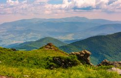 View from the cliff in to the valley. Lovely summer landscape of Carpathian mountains Stock Images