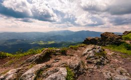 View from a cliff in to the valley. Gorgeous landscape of Carpathian mountains Stock Images