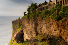 View of a cliff at Uluwatu temple, Bali Indonesia. Stock Photos