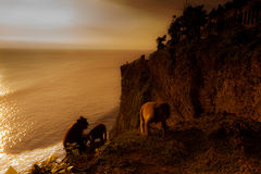 View of a cliff at Uluwatu temple, Bali Indonesia. Royalty Free Stock Photo