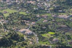 View from the cliff. The view from the cliff on the small town Arco de Sao Jorge. Madeira Island, Portugal Stock Photos