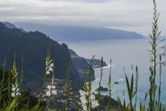 View from cliff. The view from the cliff on the small town Seixal and the shore of the Atlantic Ocean. Madeira Island, Portugal Royalty Free Stock Photography