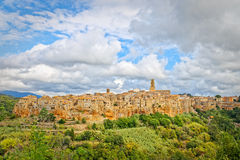 View of the cliff where there is Pitigliano, ancient village Royalty Free Stock Image