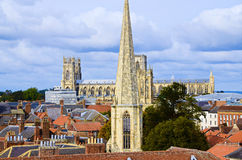 View from Cliffords Tower. Looking out at the view from the top of Cliffords Tower in York. Include York Minster, St Wilfrids Catholic Church Royalty Free Stock Photography