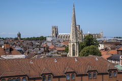 View from Cliffords Tower in York. The view from Cliffords Tower in the historic city of York in England.  The view includes York Minster, St. Mary's church Royalty Free Stock Photography