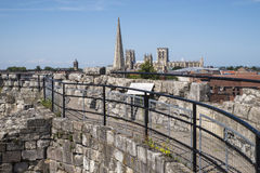 View from Cliffords Tower in York. The view from Cliffords Tower in the historic city of York in England.  The view includes York Minster, St. Mary's church Stock Photo