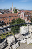 View from Cliffords Tower in York. The view from Cliffords Tower in the historic city of York in England.  The view includes York Minster, St. Mary's church Stock Photos