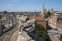 View from Cliffords Tower in York. The view from Cliffords Tower in the historic city of York in England.  The view includes York Minster, St. Mary's church Stock Photography
