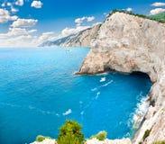 View on cliffs back of Katsiki beach, Lefkada, Greece. Beautiful panoramic view on cliffs back of Katsiki beach, Lefkada island, Greece Royalty Free Stock Photo