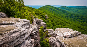 View from cliffs on Big Schloss, in George Washington National F. Orest, Virginia royalty free stock photo
