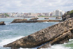 View of the cliffs and coastline of Biarritz (France). Stock Image
