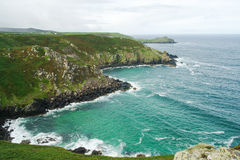 View of cliffs on Cornish Coast. View out to sea and cliffs on coast of Cornwall, England Stock Photos