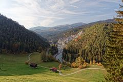 View of cliffs and Isla pastures in sunny autumnal Ruinaulta royalty free stock photos