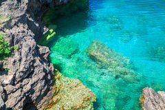 View of cliffs rocks above great Cyprus lake tranquil turquoise water at beautiful gorgeous Bruce Peninsula, On Royalty Free Stock Image