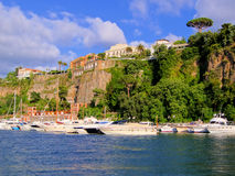 Sorrento harbor. View of the cliffs of Sorrento, Italy from the harbor Royalty Free Stock Photos
