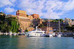 Sorrento harbor. View of the cliffs of Sorrento, Italy from the harbor royalty free stock photography