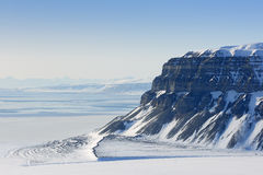 View on the cliffs. From the Tempelfjorden, Spitsbergen Royalty Free Stock Image