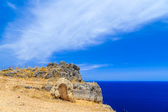 The view from the cliffs to deep blue sea. The Island Of Rhodes, Greece Royalty Free Stock Photo