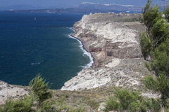 View of cliffs on way to Akrotirir, Santorini on  windy day Royalty Free Stock Photo