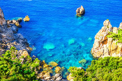 Cliffside coastline on Greek island Corfu Stock Photo